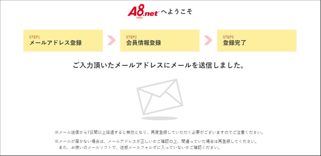 A8ネット 申し込み時のメールアドレス送信完了通知