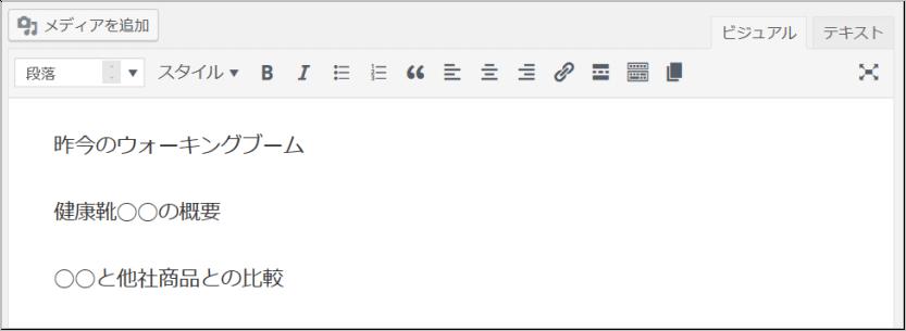 WordPress投稿の編集画面で文章を入力