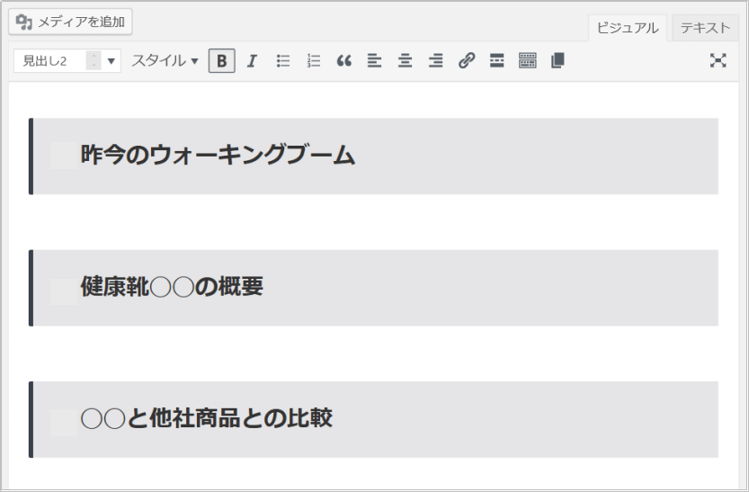 WordPress投稿編集画面で見出しを作成完了