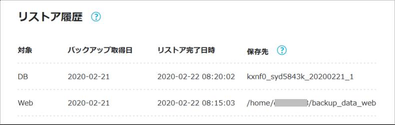 データベースのリストア履歴画面