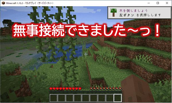 マイクラJava版 マルチプレイで作ったサーバーへの接続完了