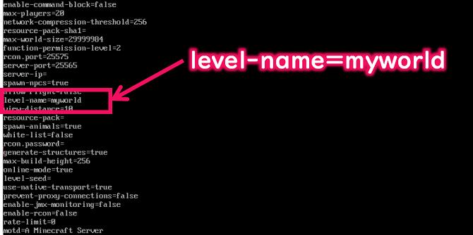 サーバー設定ファイルのlevel-nameを変更